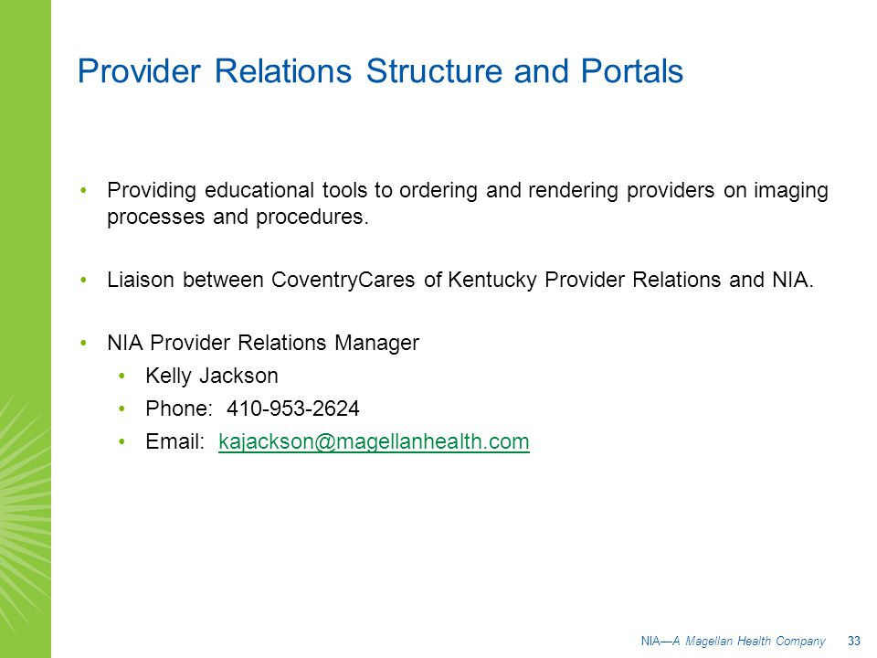 Provider Relations Structure and Portals