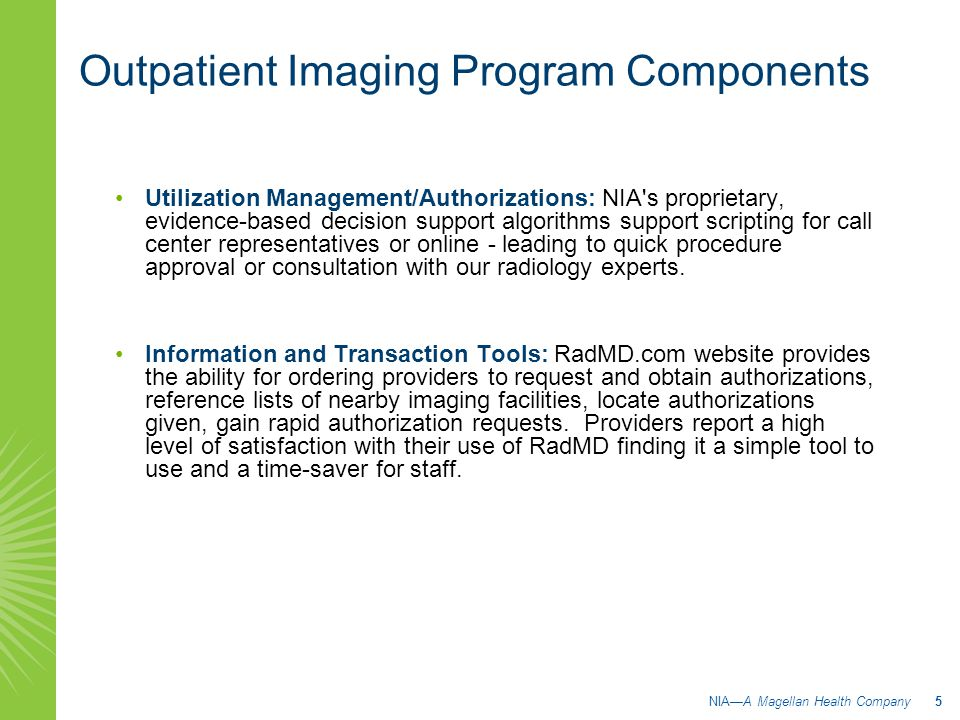 Outpatient Imaging Program Components