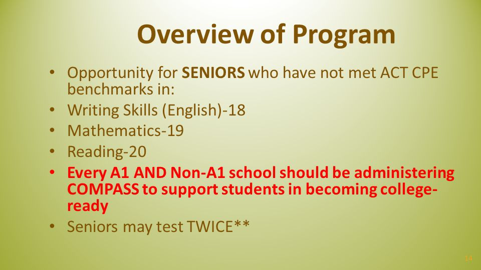 Overview of Program Opportunity for SENIORS who have not met ACT CPE benchmarks in: Writing Skills (English)-18.