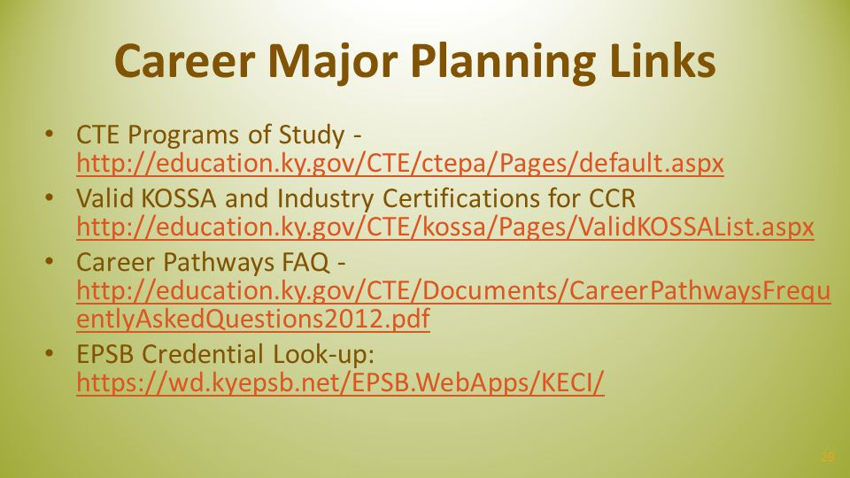 Career Major Planning Links