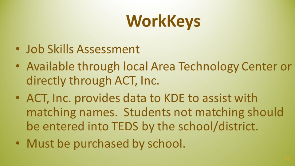 WorkKeys Job Skills Assessment