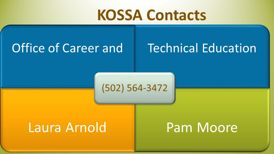 KOSSA Contacts Laura Arnold Pam Moore Office of Career and