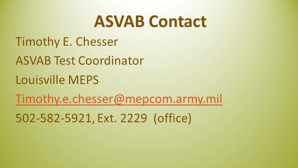 ASVAB Contact Timothy E.