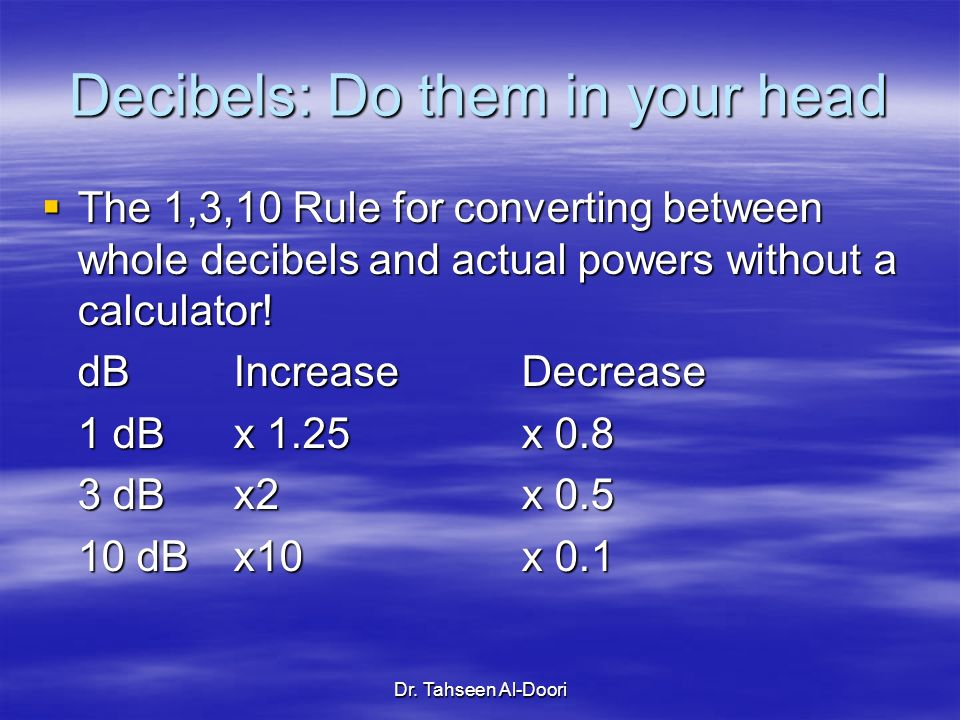 Decibels: Do them in your head