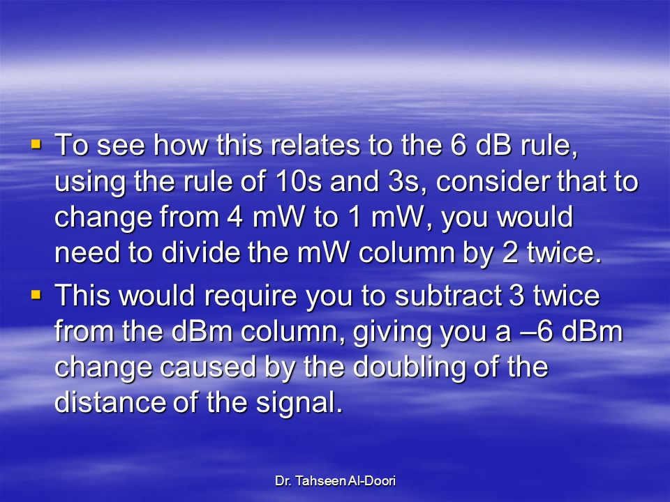 To see how this relates to the 6 dB rule, using the rule of 10s and 3s, consider that to change from 4 mW to 1 mW, you would need to divide the mW column by 2 twice.