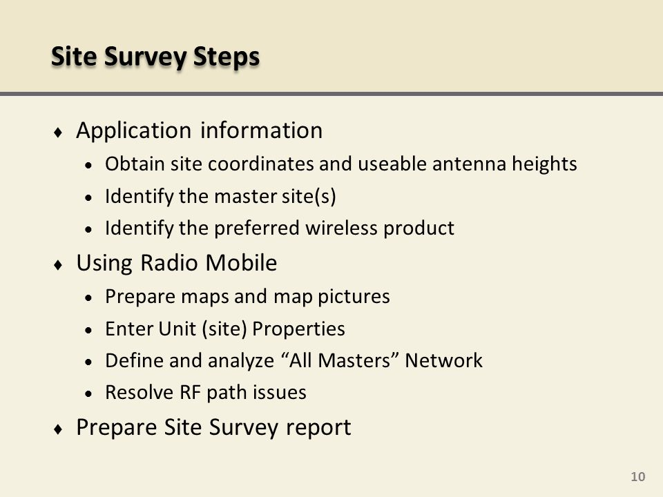 Site Survey Steps Application information Using Radio Mobile