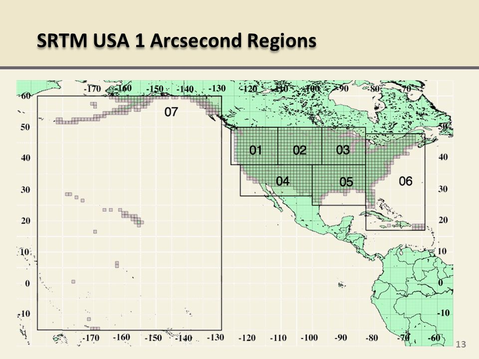 SRTM USA 1 Arcsecond Regions