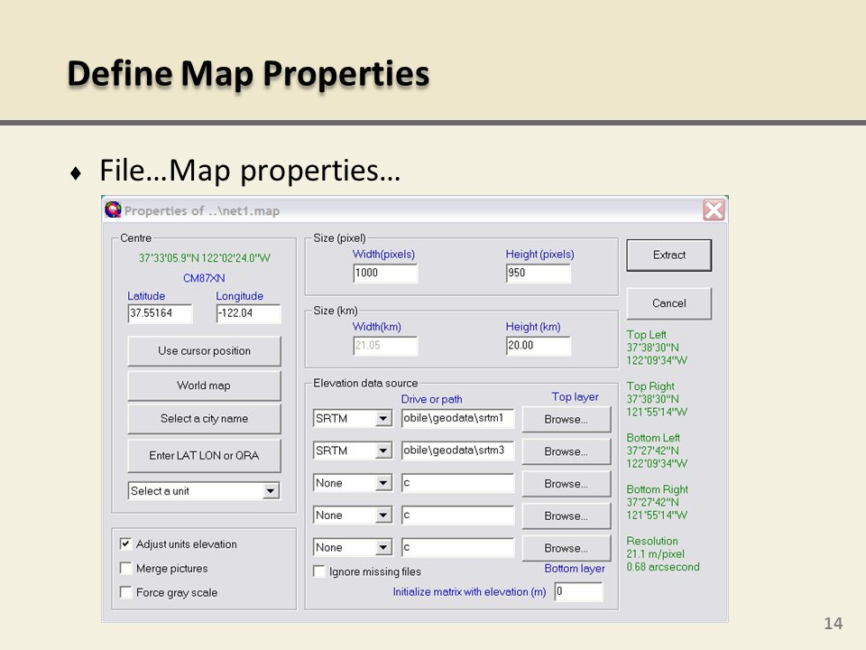 Define Map Properties File…Map properties…
