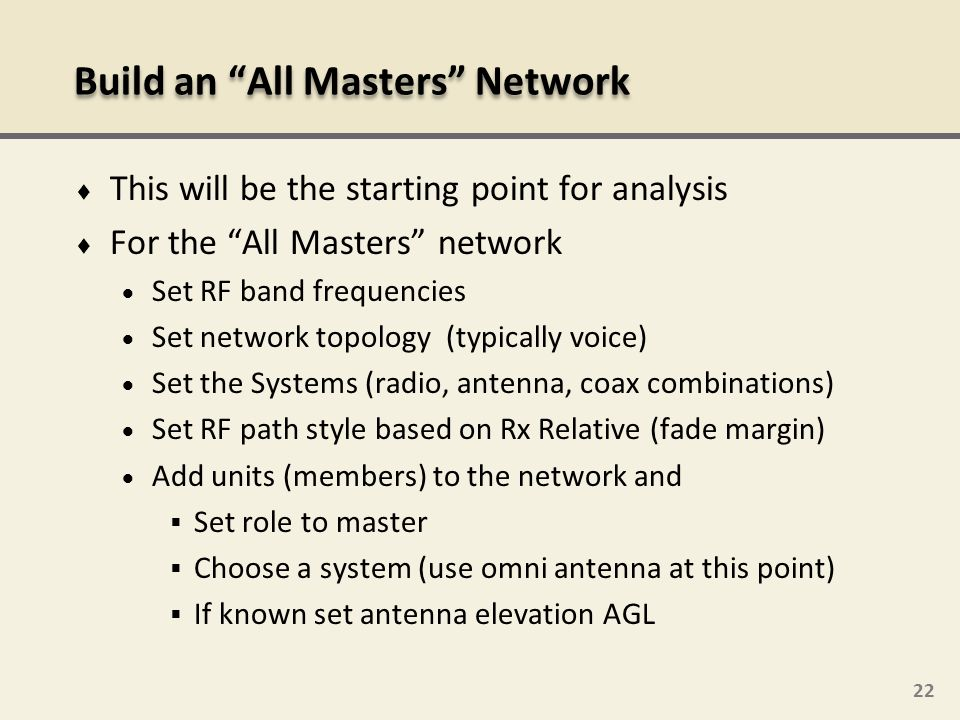 Build an All Masters Network