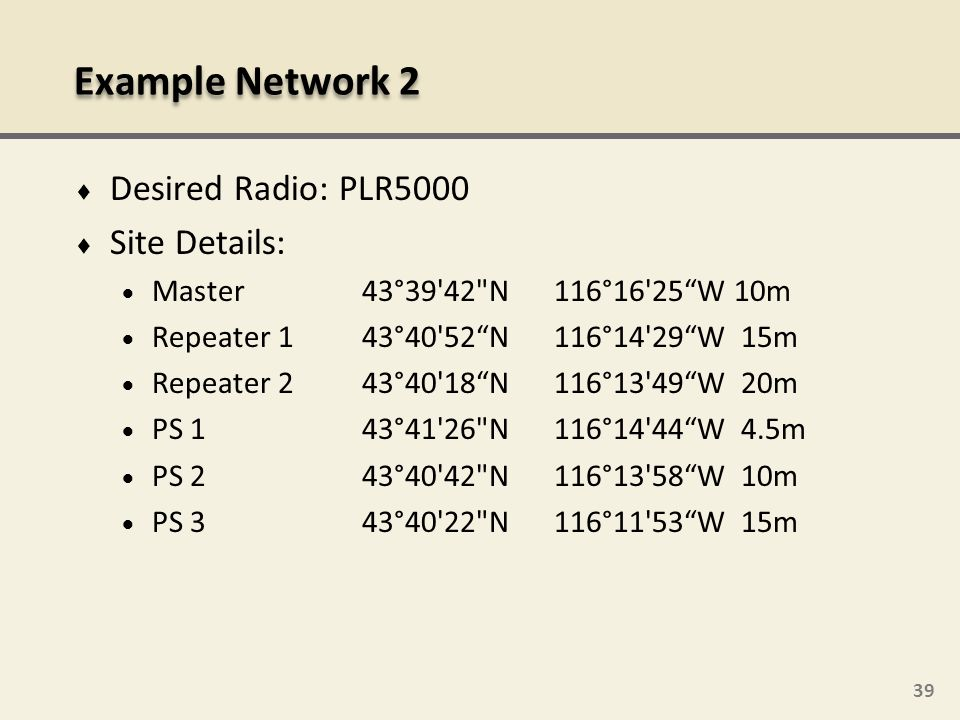 Example Network 2 Desired Radio: PLR5000 Site Details: