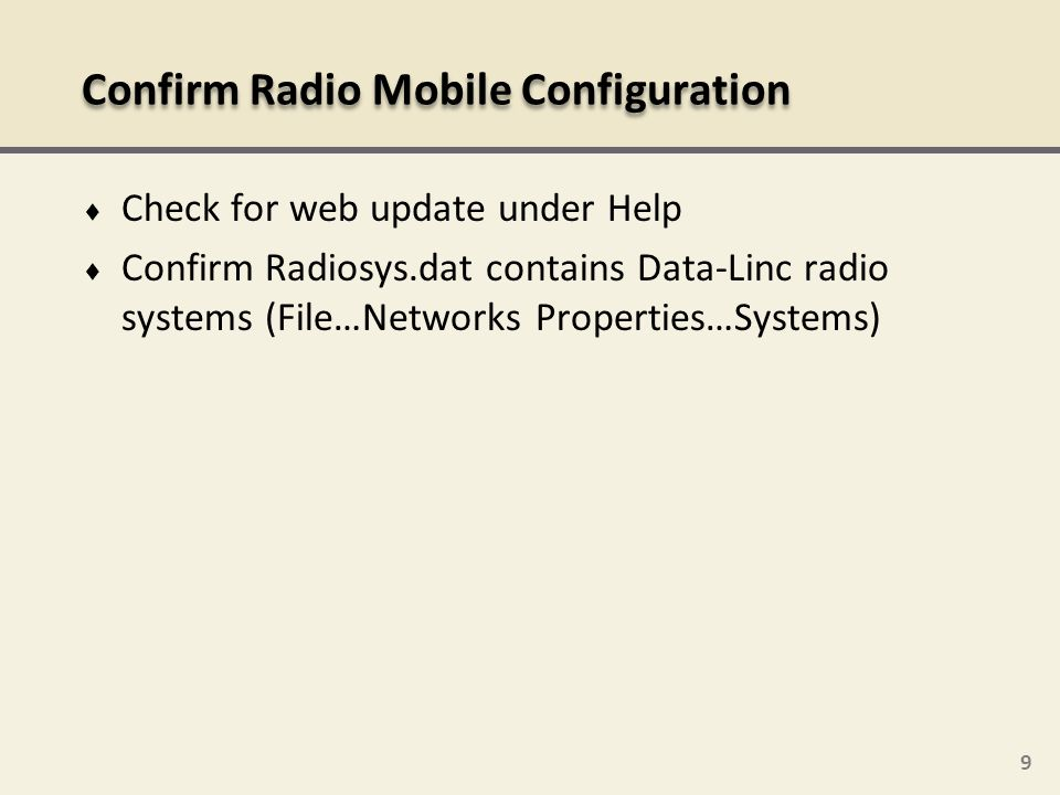 Confirm Radio Mobile Configuration