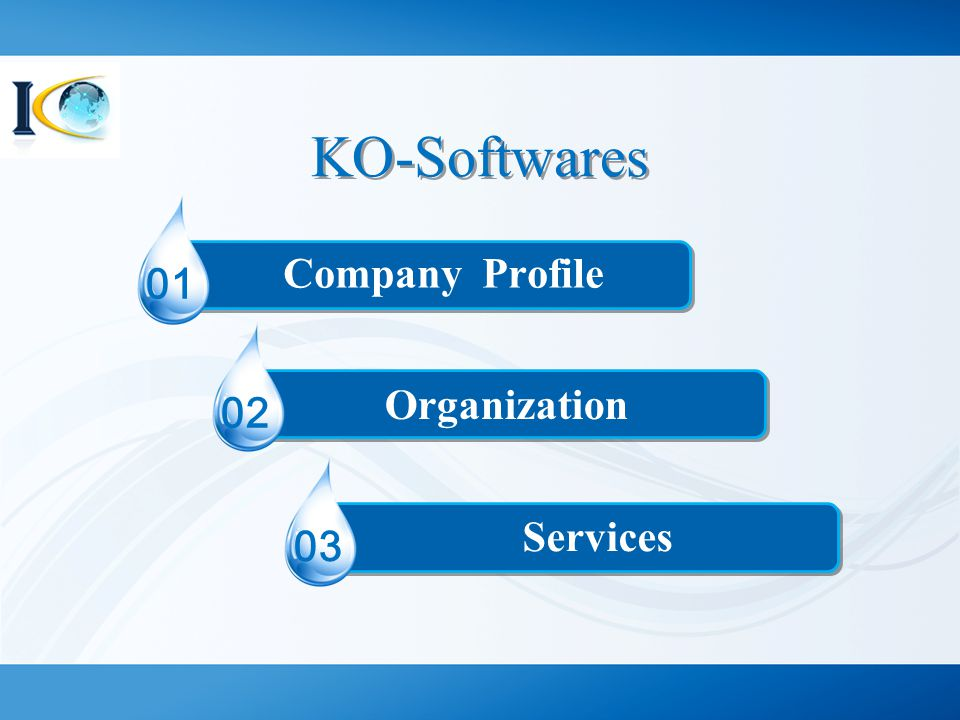 KO-Softwares Company Profile 01 Organization 02 Services 03