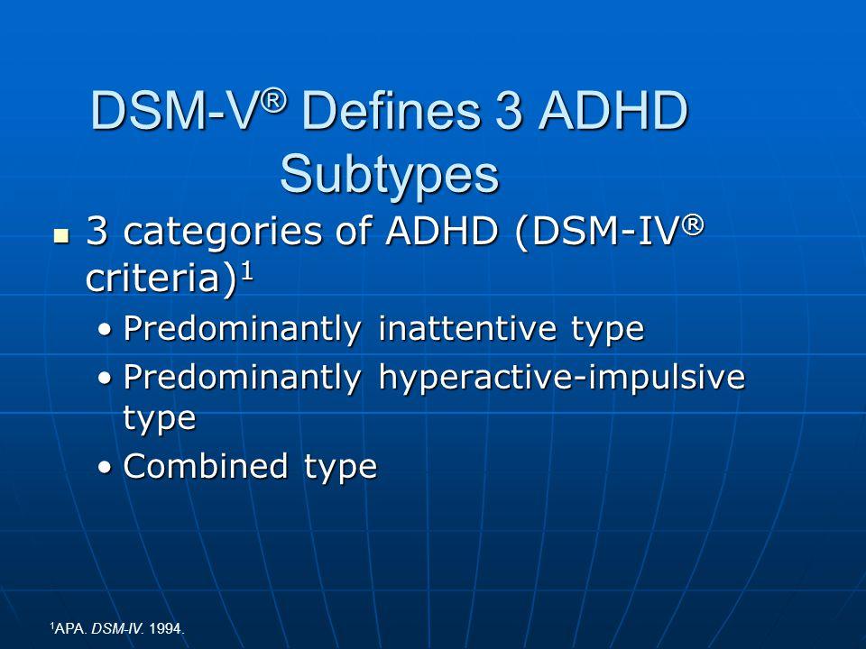 DSM-V® Defines 3 ADHD Subtypes