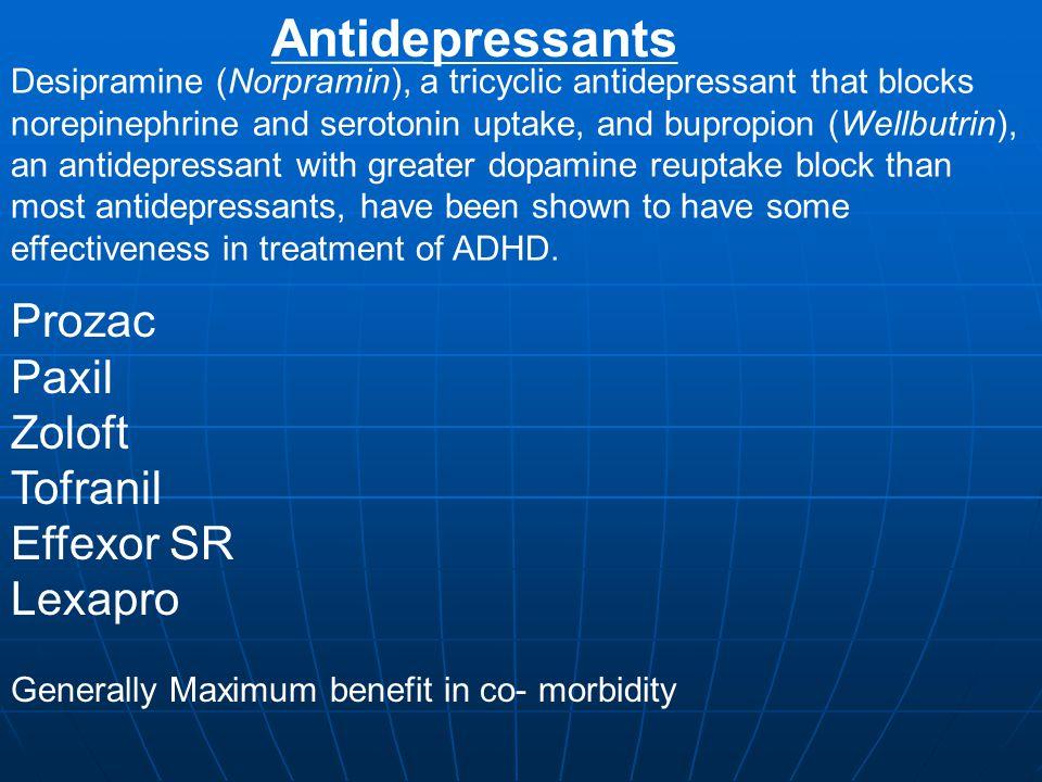 Antidepressants Prozac Paxil Zoloft Tofranil Effexor SR Lexapro