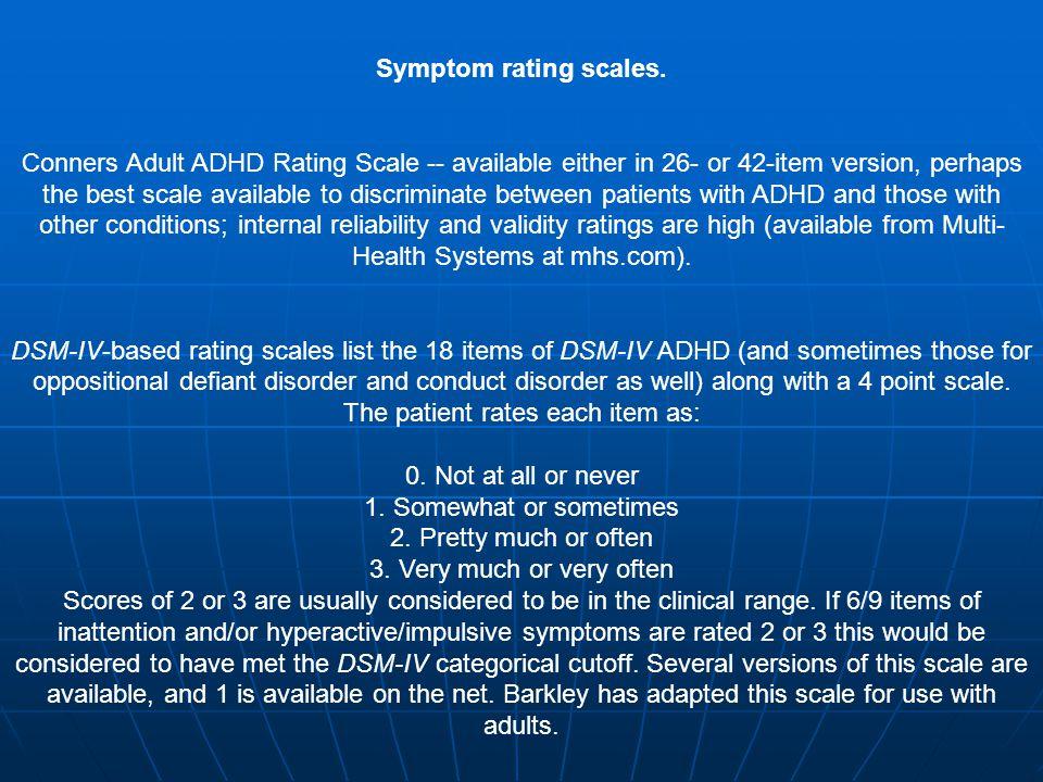 Symptom rating scales.
