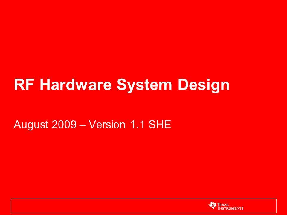 RF Hardware System Design