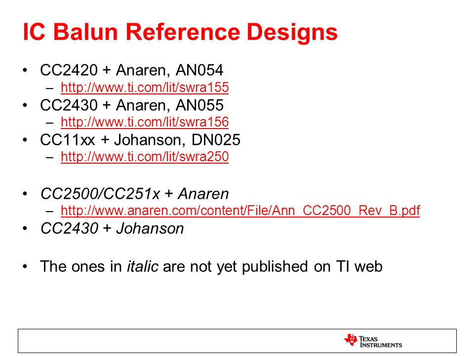 IC Balun Reference Designs