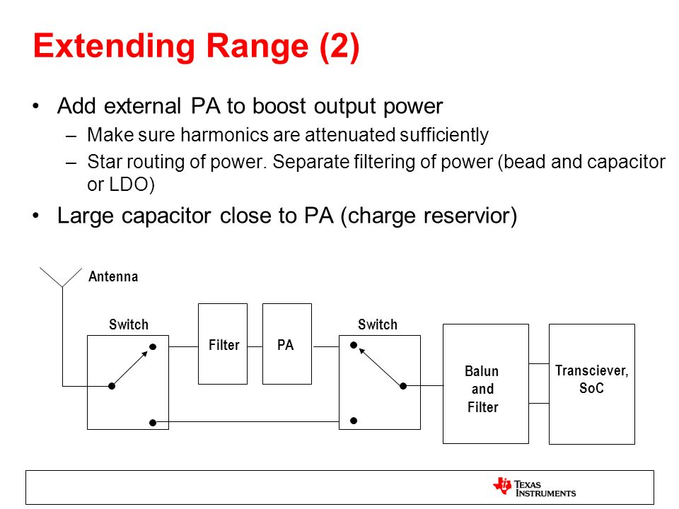 Extending Range (2) Add external PA to boost output power