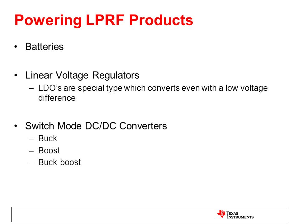 Powering LPRF Products
