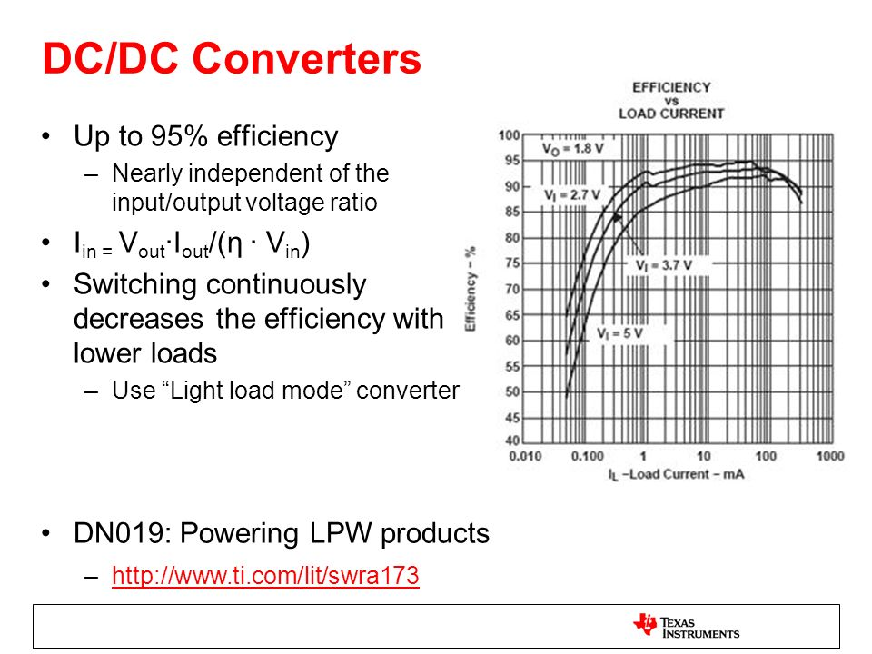 DC/DC Converters Up to 95% efficiency Iin = Vout∙Iout/(η ∙ Vin)