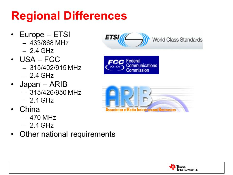 Regional Differences Europe – ETSI USA – FCC Japan – ARIB China