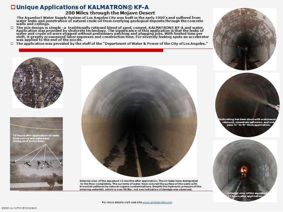 Unique Applications of KALMATRON® KF-A