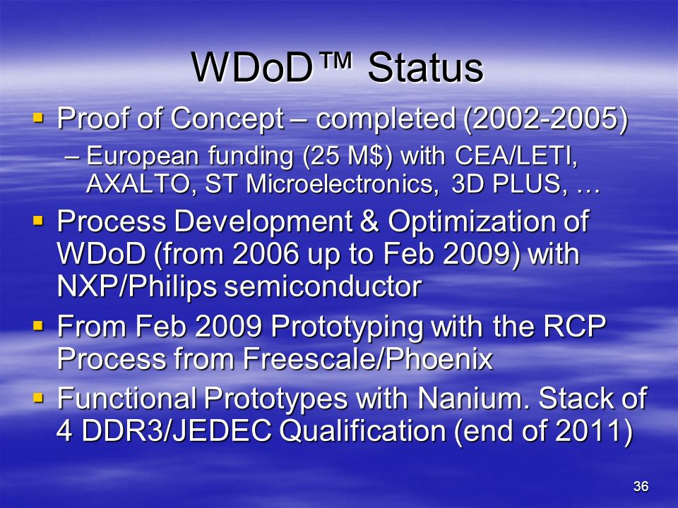 WDoD™ Status Proof of Concept – completed (2002-2005)