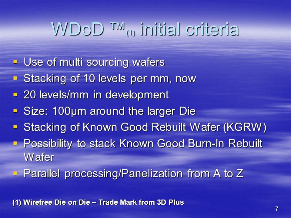 WDoD ™(1) initial criteria