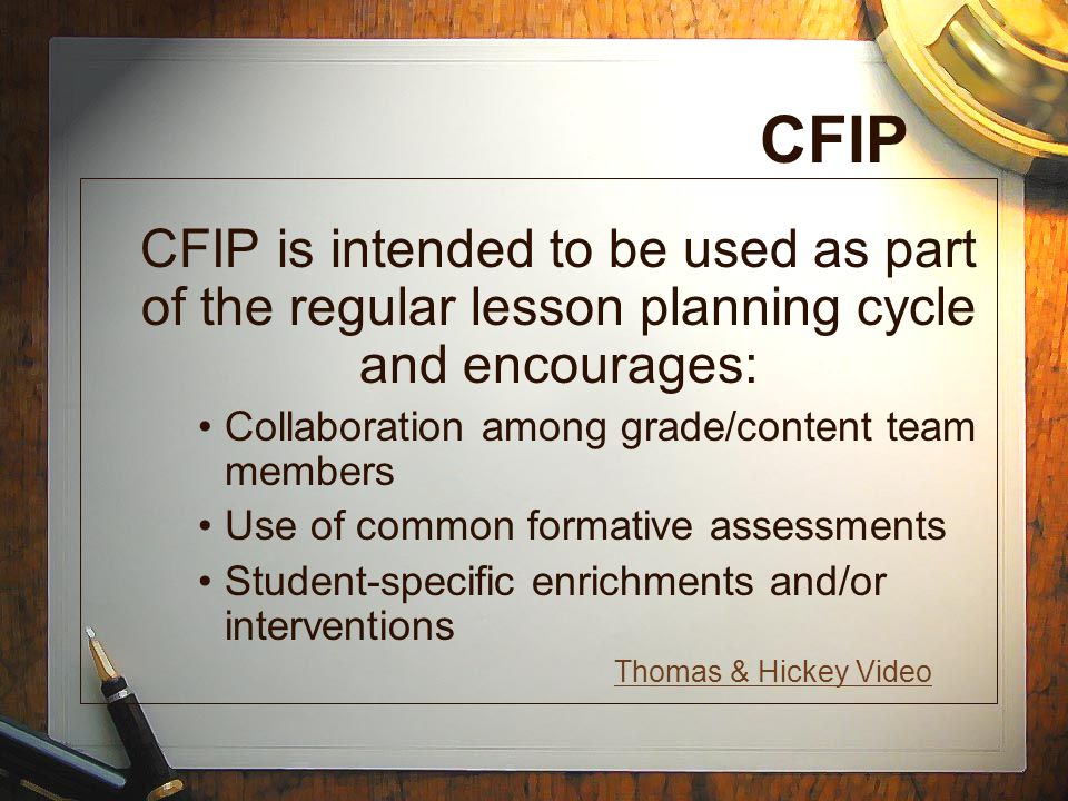 CFIP Collaboration among grade/content team members