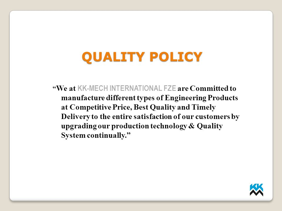 LMP INDUSTRIES QUALITY POLICY.