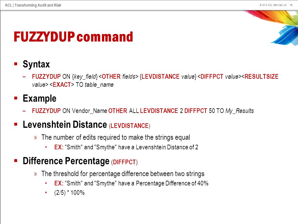 FUZZYDUP command Syntax Example Levenshtein Distance (LEVDISTANCE)