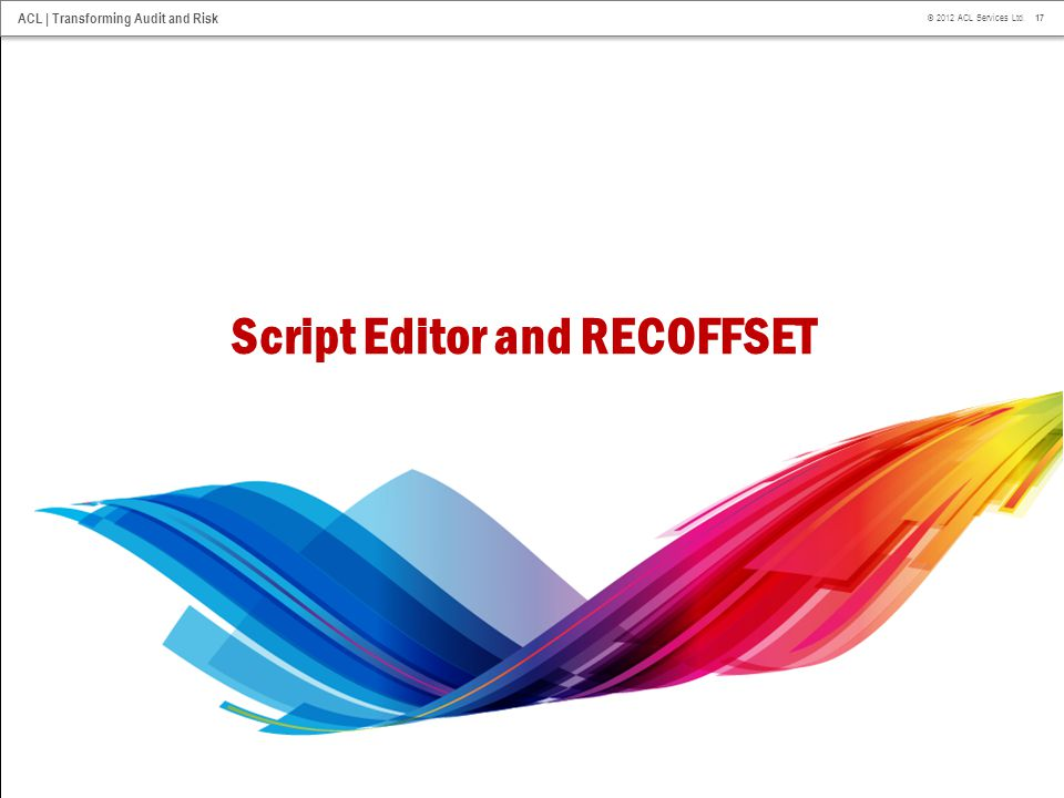Script Editor and RECOFFSET