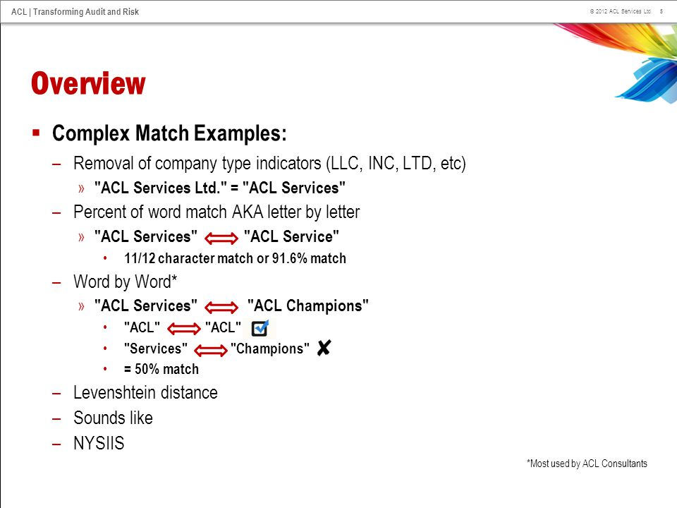 Overview Complex Match Examples: