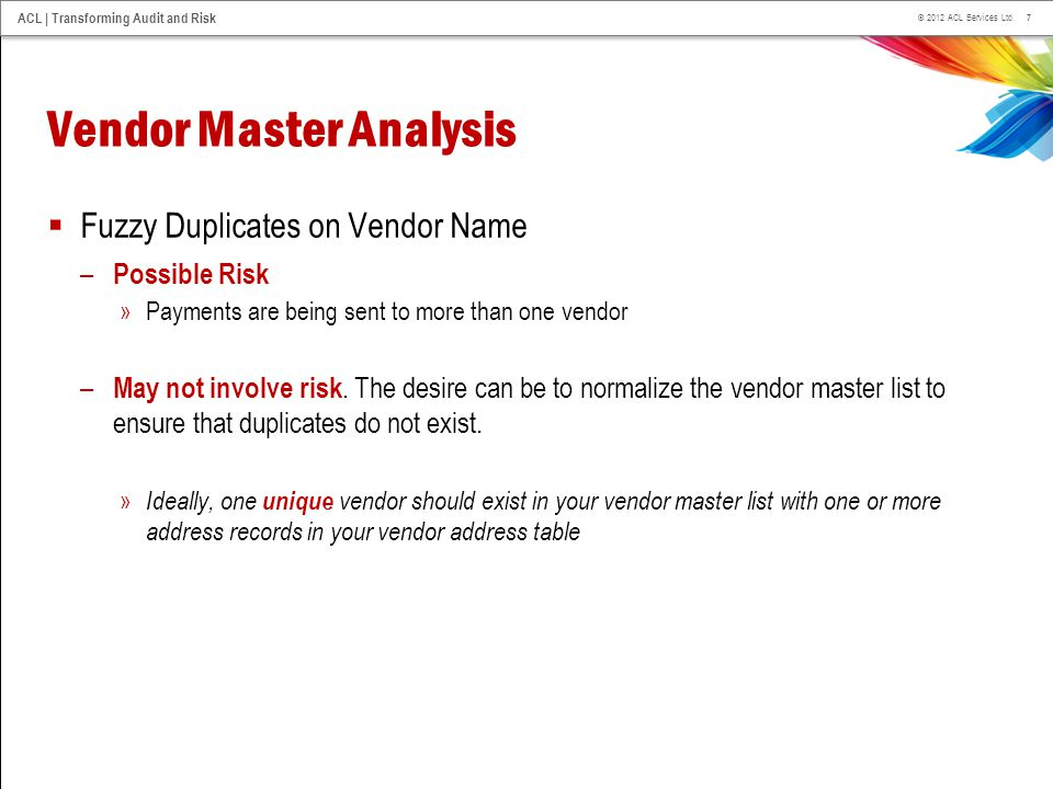 Vendor Master Analysis