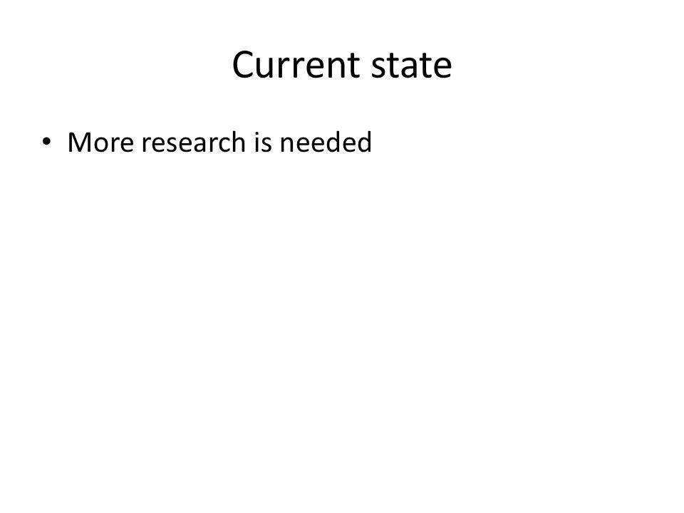 Current state More research is needed