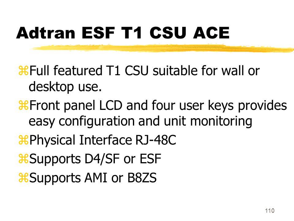 Adtran ESF T1 CSU ACE Full featured T1 CSU suitable for wall or desktop use.