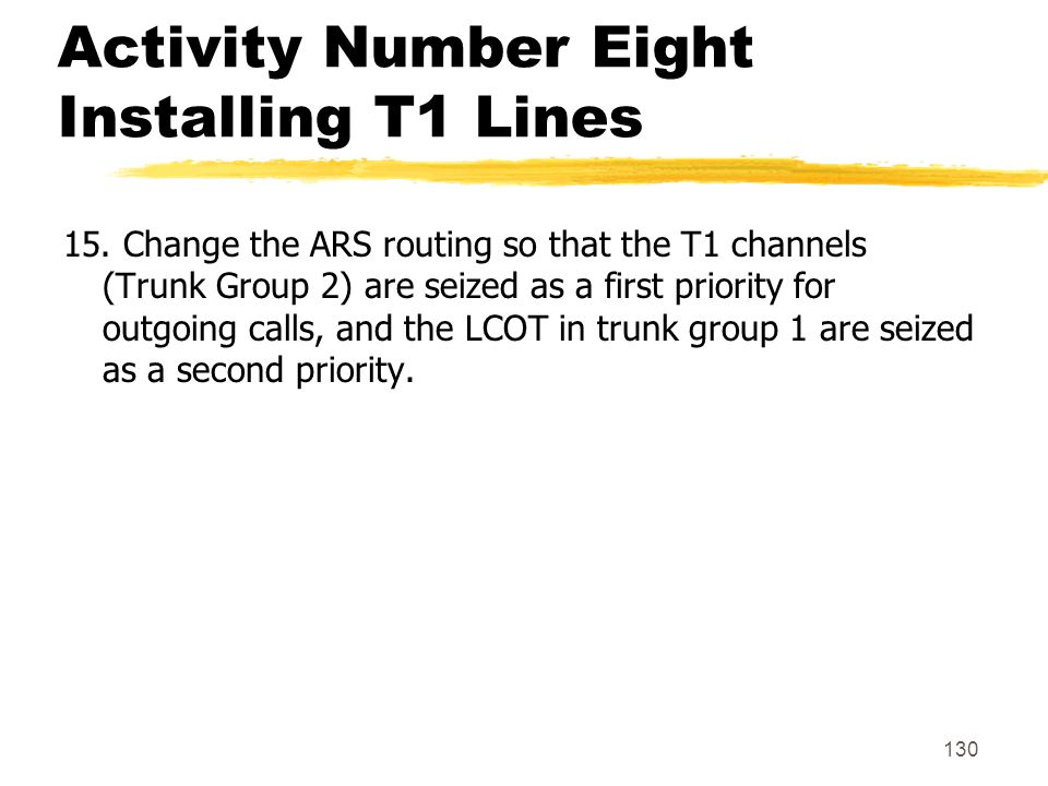 Activity Number Eight Installing T1 Lines