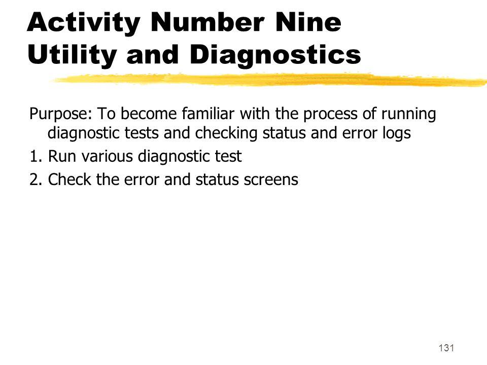 Activity Number Nine Utility and Diagnostics