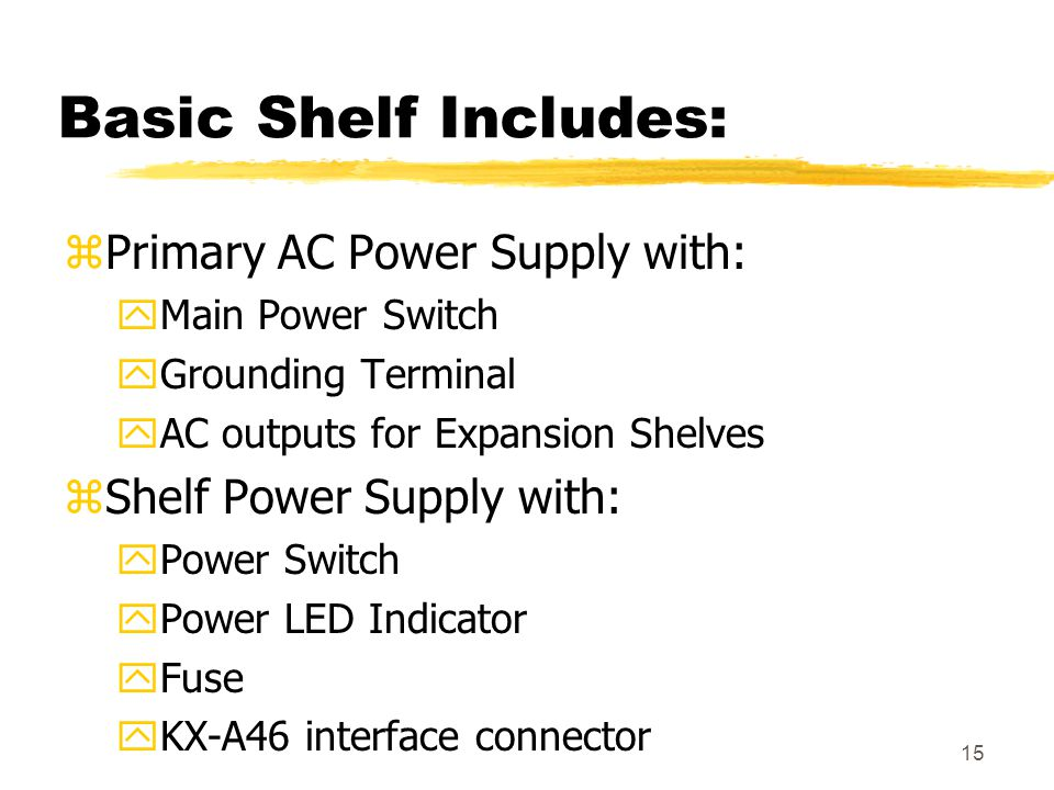 Basic Shelf Includes: Primary AC Power Supply with: