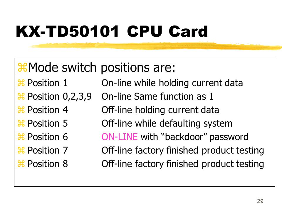 KX-TD50101 CPU Card Mode switch positions are:
