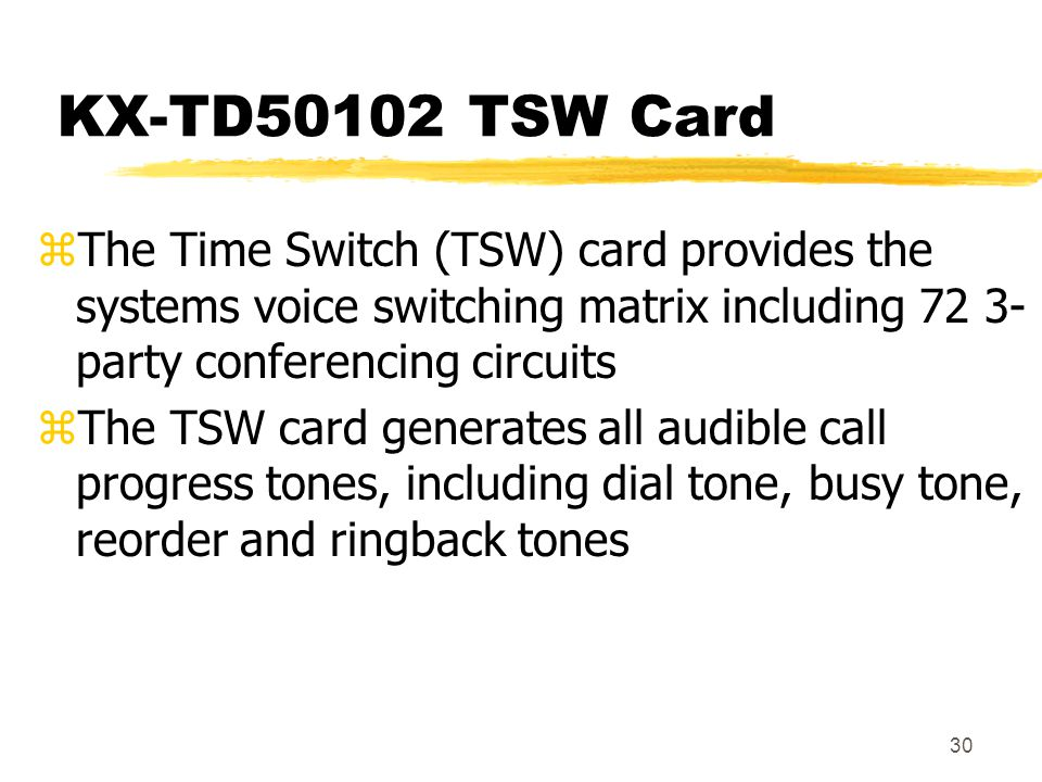 KX-TD50102 TSW Card The Time Switch (TSW) card provides the systems voice switching matrix including 72 3- party conferencing circuits.