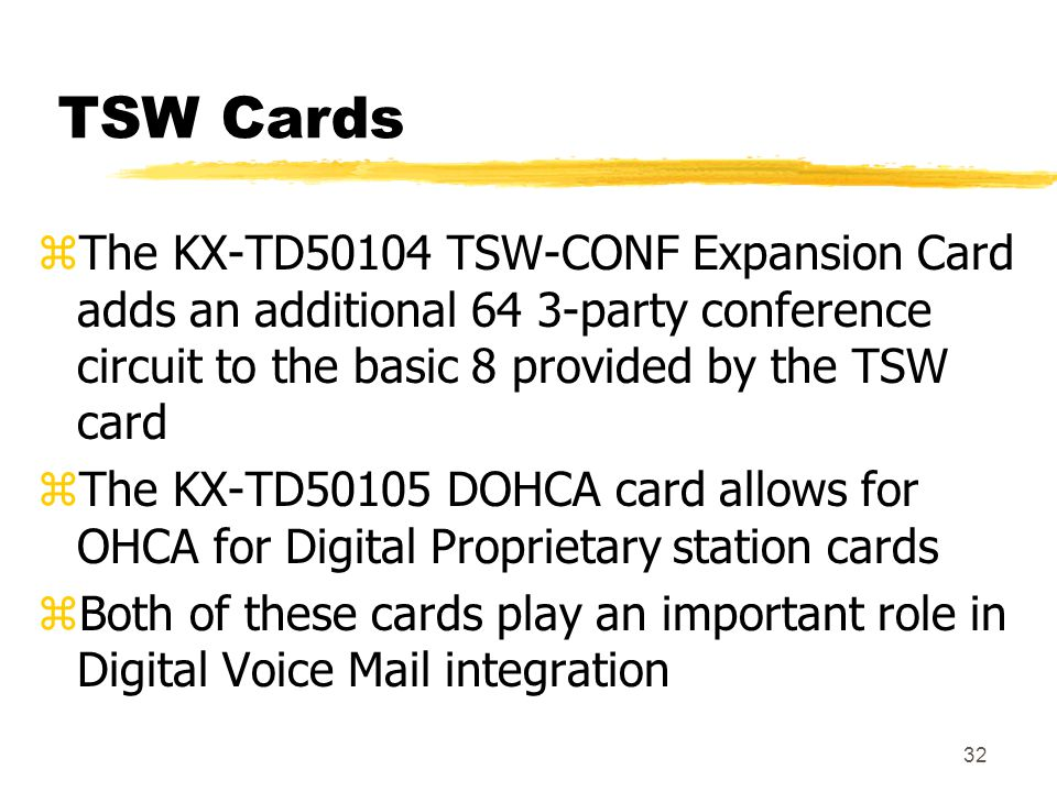 TSW Cards The KX-TD50104 TSW-CONF Expansion Card adds an additional 64 3-party conference circuit to the basic 8 provided by the TSW card.