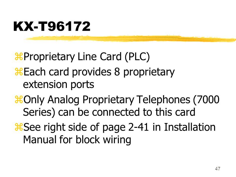 KX-T96172 Proprietary Line Card (PLC)