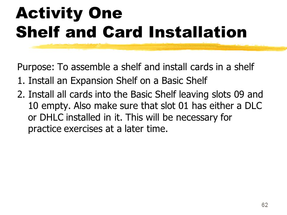 Activity One Shelf and Card Installation