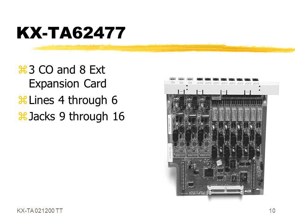 KX-TA62477 3 CO and 8 Ext Expansion Card Lines 4 through 6