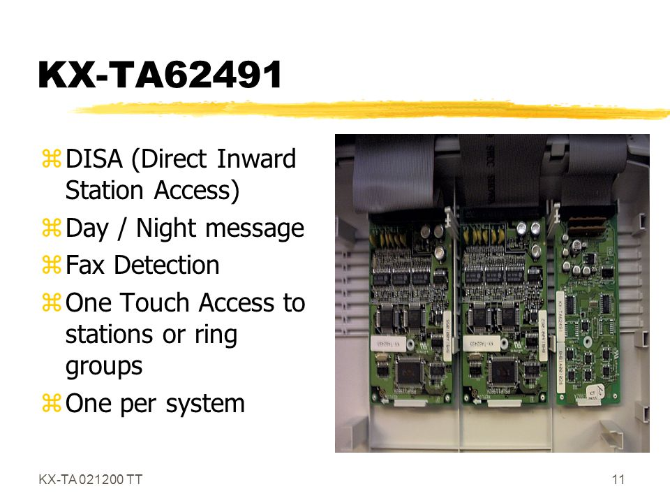 KX-TA62491 DISA (Direct Inward Station Access) Day / Night message