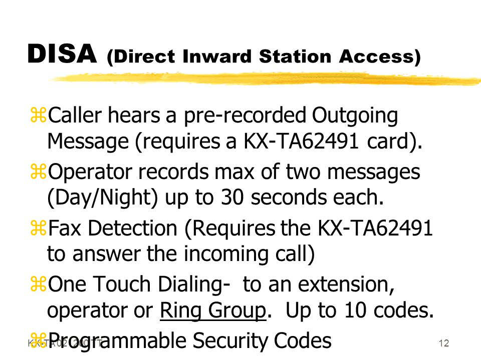 DISA (Direct Inward Station Access)