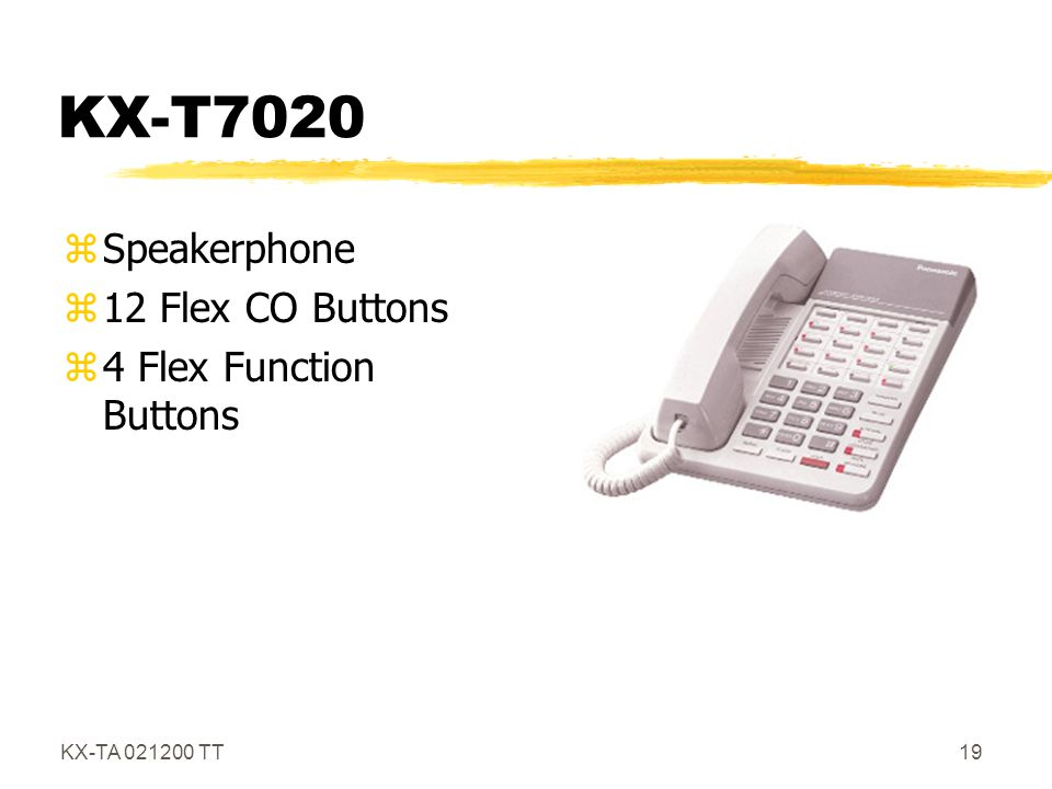 KX-T7020 Speakerphone 12 Flex CO Buttons 4 Flex Function Buttons