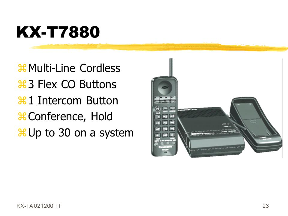 KX-T7880 Multi-Line Cordless 3 Flex CO Buttons 1 Intercom Button