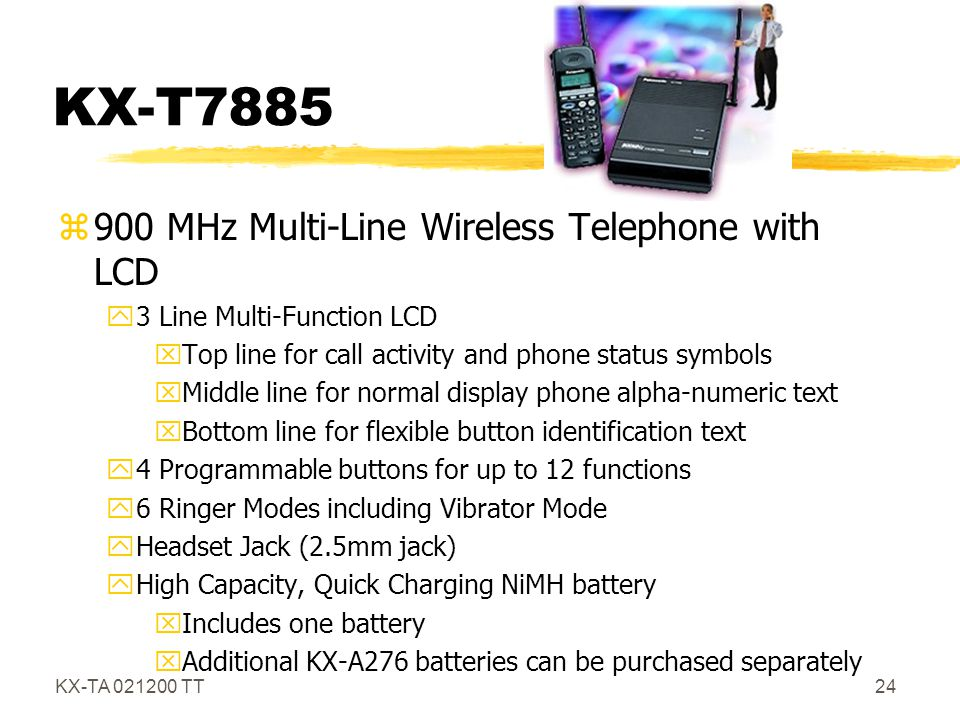KX-T7885 900 MHz Multi-Line Wireless Telephone with LCD